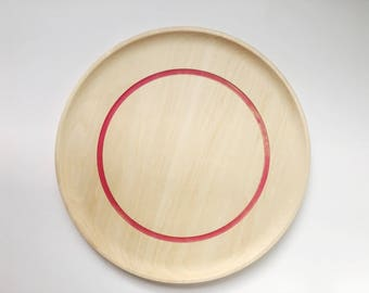 "10"" Wooden Plates with color ring, eco resin and wood, pink ring plate, dessert plate, serving plate by Willful"