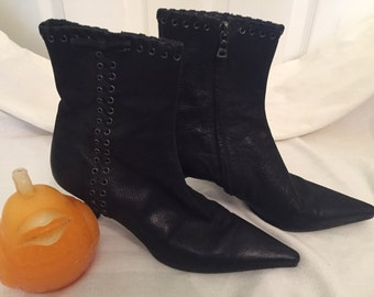 PRADA ANKLE BOOTS, Children's Boot Black Size 4.5 U S A, Euro 34 1/2 Petite Feet at Ageless Alchemy