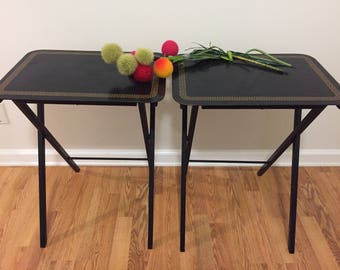 RESERVED for O till 6/23/17 TV Trays GREEK Key, T V Tray, Folding Tables, Small Folding Tables, Artex Tables, Tiny Home