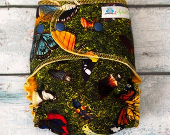 "Serged Hybrid Fitted Cloth Diaper- ""Butterflies"""