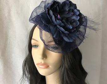 Navy Blue Flower Wedding Fascinator hat, Kate Middleton Hat, Navy Blue Derby Race Fascinator hat for Women, Navy Blue Elegant Church hat