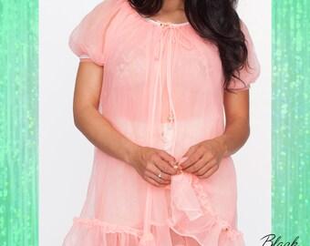 Vintage Flirty Soft Sheer Sherbet Colored Peignoir Set
