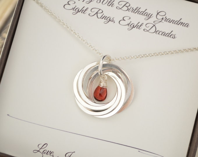 Garnet birthstone jewelry, 80th Birthday gift for mom and grandmother necklace, January birthstone necklace, Grandmother jewelry, Mom neck