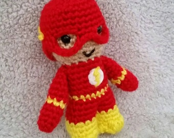 Crochet Super Hero Stuffed Animal Doll Red and Yellow with Lightning Symbol Logo