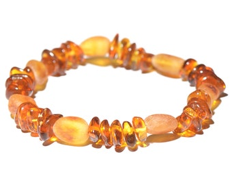 Authentic Baltic Amber Bracelet for Women - For daily wearing - Handmade Amber Bracelet - Elastic