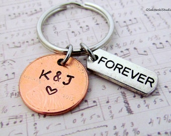 Forever Lucky Penny Keychain, Personalized Initial Couple Anniversary Engagement Keychain