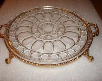 Heavy Glass Crystal And Brass Serving Platter With Handles