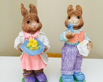 Vintage Easter Decor Bunny Rabbit Girl Boy Pair Brother Bunny Sister Bunny