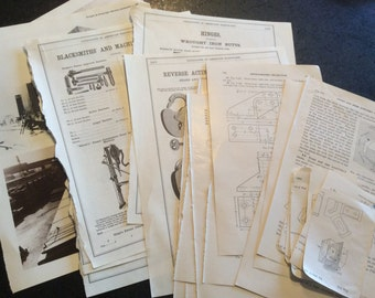 Paper ephemera vintage book pages engineering, trains, hardware, steampunk, etc