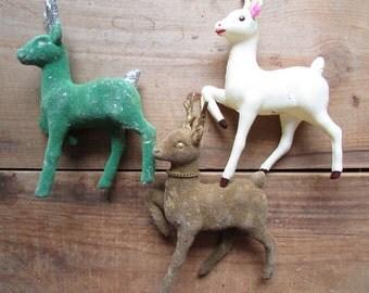 Three Flocked Reindeer Christmas Vintage Kitsch Decor