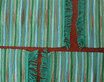 Rag Rug Placemats  in Turquoise, Light Blue, Sea Green and Orange Handwoven in Nicaragua Set of 4