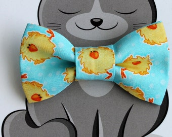 Easter Bow Tie for Pets, Dog Fashion, Cat Bowtie, Slide on Collar Accessory, Chicks, Yellow, Turquoise, Handmade in Canada, Spring