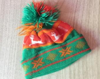 Bright Vintage Nordic Beanie, Ski Hat with PomPon