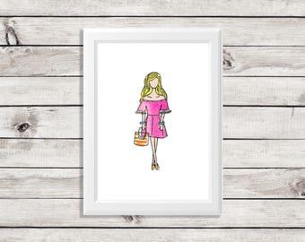 fashion illustration print - fashion illustration - cute fashion illustration print - fashion print - summertime girls - cute girl print