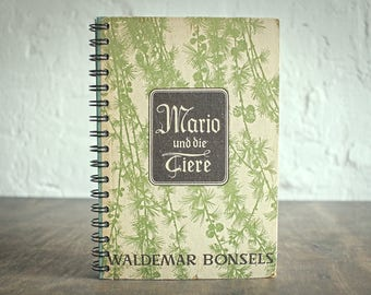 """Dotted Spiral Notebook Tartuensis College """"Tamarack"""", Upcycled from Old Book Covers"""