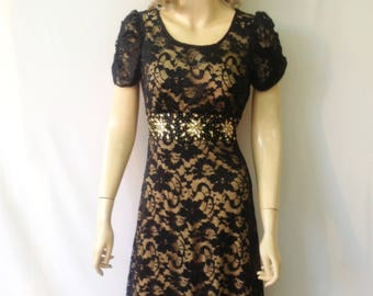 Black Lace Bridesmaid Dress. Dress With Sleeves. Black Evening Dress. Lace Knee Length Dress.