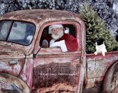 Santa, Border Collie, Christmas, 1941 Ford Pickup Truck, Wisconsin, Photograph, Print, Barb Lassa Photography