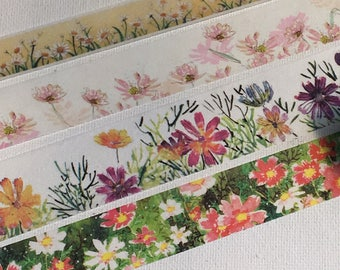 SAMPLE: 4 Designs of  Daisy Flower Limited Edition Washi Tape (1m each)