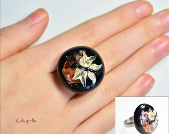 Lampwork bead, Ringtop for stainless steel change ring, moth, Design by Kokopella