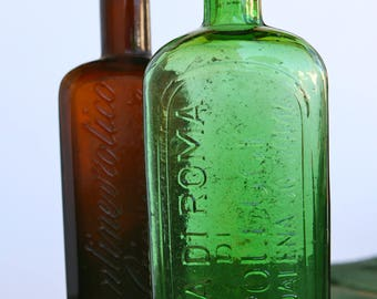 Embossed Italian pharmaceutical bottles