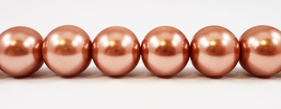 "Brown Pearl Beads 10mm Round Glass Pearl Beads, Light Brown Crystal Pearl Beads, Imitation Pearl Beads on a 7 1/4"" Strand with 20 Beads"
