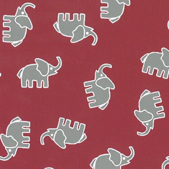 High Quality Cotton Print Grey Elephant Fabric – Red Background