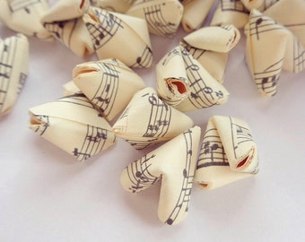 100 music sheet paper origami hearts without quotes - wedding decor - free delivery