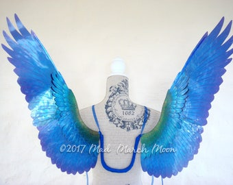 Wearable Bird Wings 'Nephilim' OOaK. Poseable Blue Green Transparent wings. Medium size, Suitable for adults.