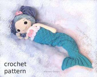 Crochet Mermaid Pattern-Crochet Rag Doll Pattern-Amigurumi Doll-DIY Crochet Doll-Stuffed Toy Crochet Tutorial-Rag Doll Crochet Pattern