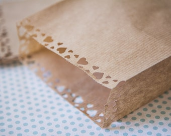 "10 brown kraft paper bags   5,11"" x 6,88""  ( made in Germany) lace cutout"
