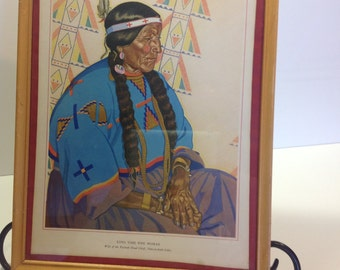 Antique Native American Print Lithograph Picture Long Time Pipe Woman