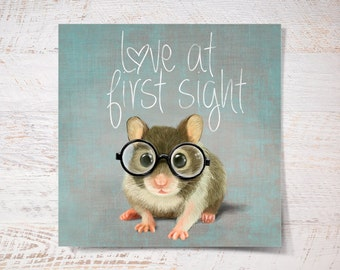 Love at first sight! Small mouse with glasses print, mouse poster print gift funny gift print portrait wall art print wall decor