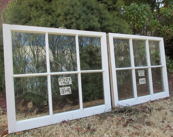 2- 27 x 23 Matching Vintage Window sash old 6 pane from 1965 Arts & Crafts
