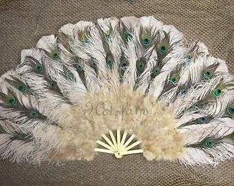 """Beige camel Peacock Marabou Ostrich Feathers Fan 27""""x 53"""" wedding  & Burlesque fan"""