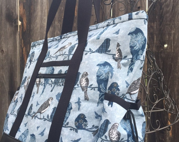 Leather Bottom Teacher Tote, Bird Travel Tote, Large Tote Bag with Pockets, Diaper Bag, Nurse Tote, Professional Tote, Teacher Bag, Carry On