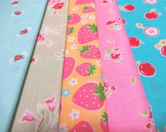 SALE Japanese Fabric Flower Strawberry FQ 5Pices L6