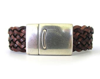 Brown Braided Leather Bracelet - Leather Cuff for Men - Leather Bracelets for Women - Husband Gift - Boyfriend Gift - Leather Jewelry - UL38
