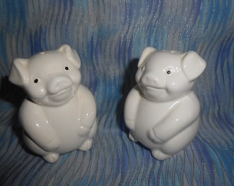White Glass Pig Salt and Pepper Shakers