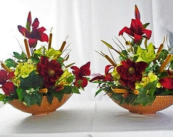 set of 2 red centerpieces red silk flowers flower arrangements red lilies shelf - Silk Arrangements For Home Decor 2