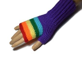 Rainbow Crochet  Gloves -  Ladies Crochet Gloves - Womens Fingerless Gloves - Striped Fingerless Gloves - Colourful Gloves - Teen Gifts