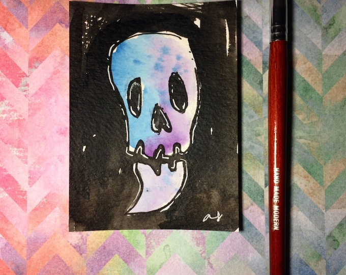 """Watercolor and ink Painting """"Skull"""" 3x4 inches drawing / decoration."""
