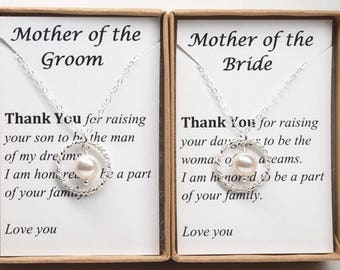 Set of 2 Mother of the bride and groom wedding gift necklace-Sterling silver eternity circle pearl necklace-Future mother in law gift