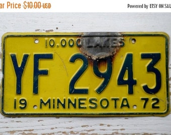 ON SALE 1972, Minnesota, License Plate, Embossed, 10,000 Lakes, Car, Truck, Yellow, Blue, Auto, Supplies, Destash, Numbers, Letters, Steel,