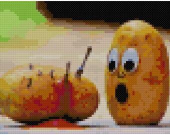 Potato Murder Funny Cross Stitch Pattern, Digital Download PDF