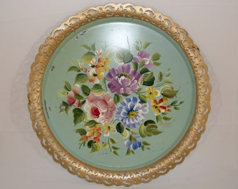 Vintage Green Floral Nash Co Tole Tray