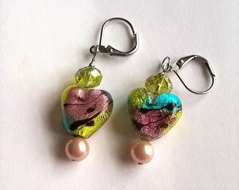 Lever Back Earrings: Pink, Blue, Yellow Metallic Colored Heart Lampwork Glass Beads, Blush Pink Shell Pearls, Yellow-Green Crystal Beads