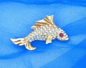 Rhinestone Fish Brooch w/ Red Rhinestone Eye ~ Vintage Pin w/ Paved Clear Faceted Crystal Rhinestones