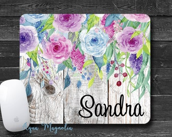 Watercolor Flowers - Weathered Wood - Personalized - Desk Accessory - Mouse Pad - Aqua, Blue, Pink - Monogrammed