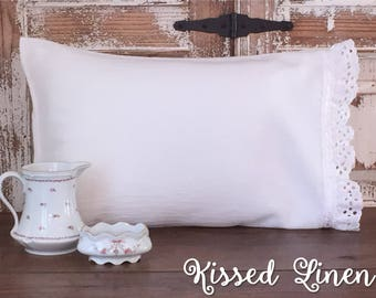 White Toddler Pillowcase Soft 100% Cotton Flour Sack Fabric Eyelet Lace Ruffles Little Girl Shabby Travel Pillowcase Kids Toddler Bedding