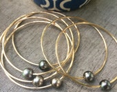Custom Order 8-9mm Tahitian Black Pearl Gold Bangle - Set of 3